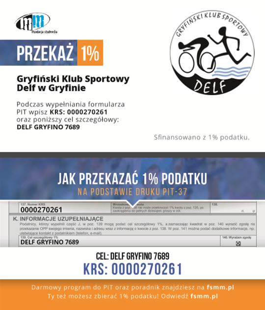 Dane do przekazania 1% podatku dla Delfa Gryfino