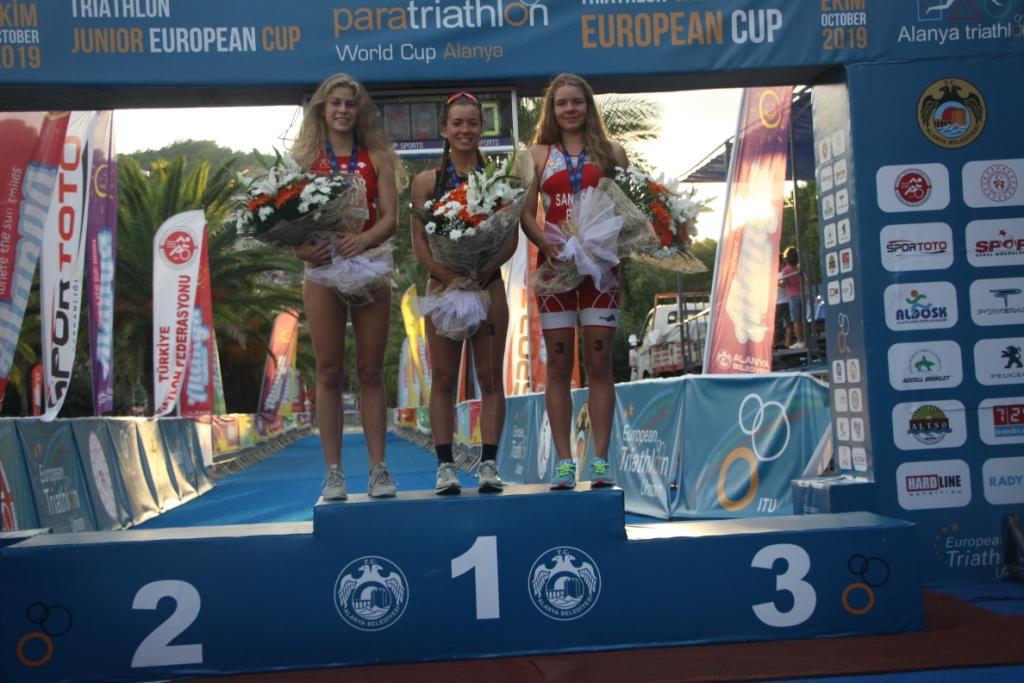 Medalistki PE Juniorów w Triathlonie - Alanya 05.10.2019