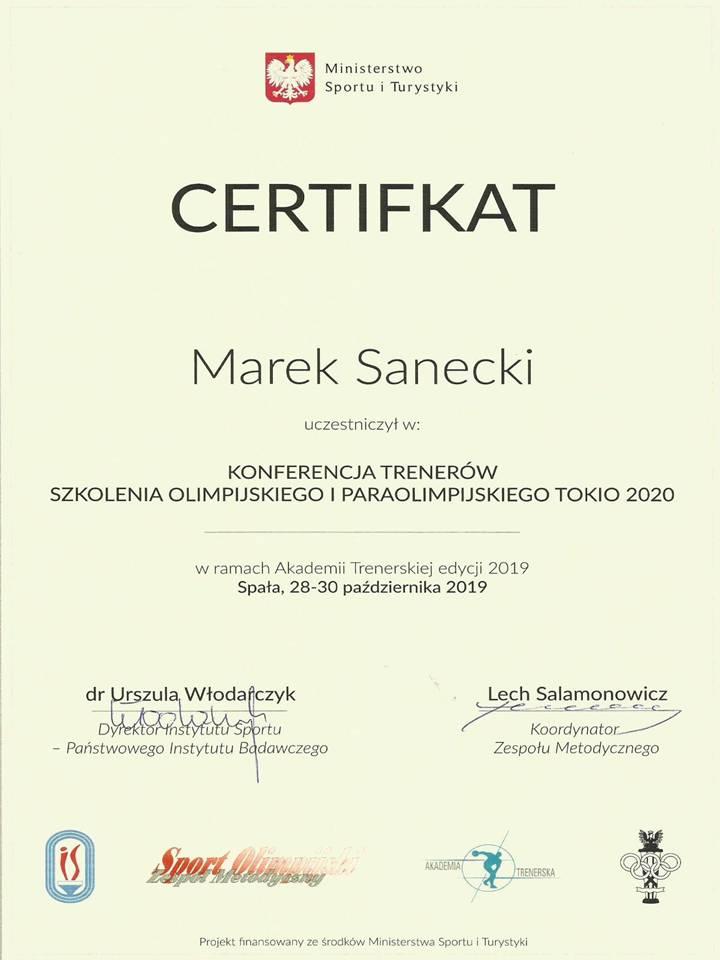 Certyfikat uczestnictwa Marka Saneckiego w konferencji szkolenia olimpijskiego do IO Tokio 2020