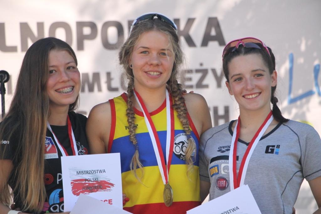 Medalistki MP Juniorek w Triathlonie 2019 - od lewej: Joanna Woźniak, Julia Sanecka, Magdalena Sudak