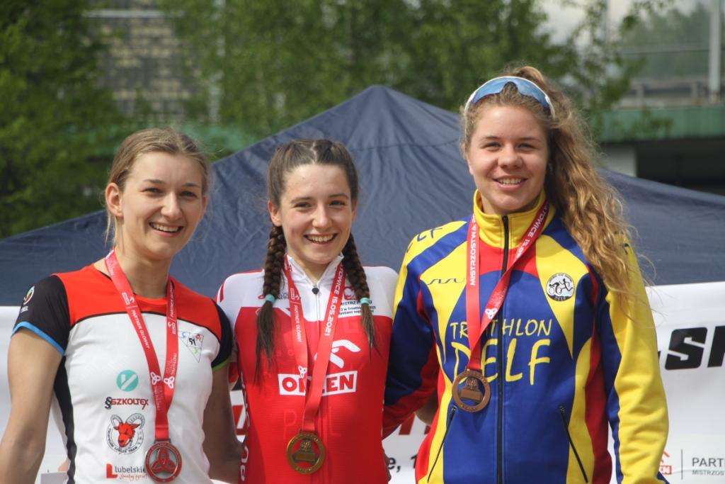 Medalistki MP w Triathlonie w supersprincie 2021 Magda Sudak, Natalia Zych, Julia Sanecka